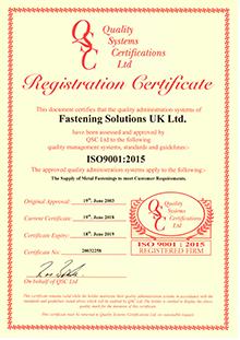Fastening Solutions - 9001 Cert